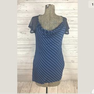 Anthro one September size medium blue striped top